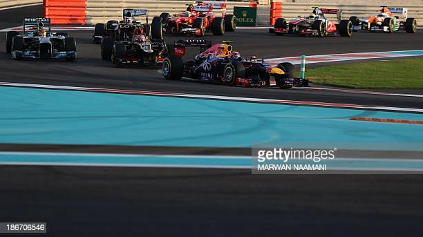 Mercedes' British driver Lewis Hamilton William's Venezuelan driver Pastor Maldonado Lotus F1 Team's French driver Romain Grosjean Red Bull Racing's...