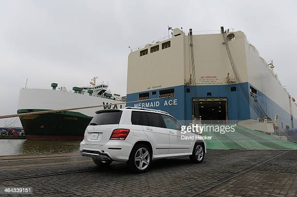 Mercedes car destined for export overseas is loaded onto ship on January 22 2014 in Bremerhaven Germany Bremerhaven is Europe's biggest port for car...