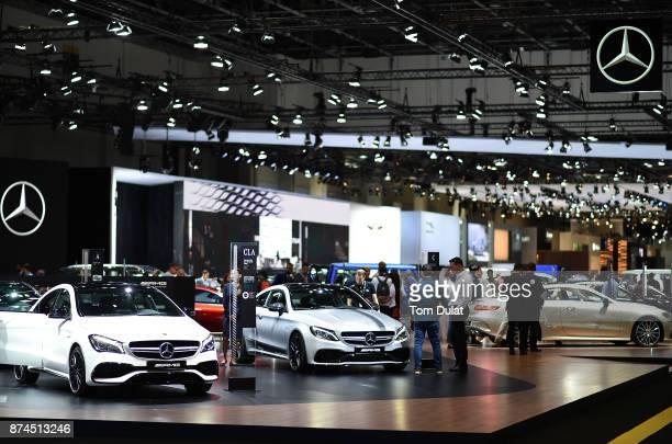 Mercedes cars are seen during Dubai Motor Show at Dubai World Trade Centre on November 15 2017 in Dubai United Arab Emirates