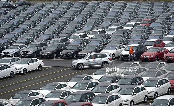 Mercedes cars destined for export overseas stand parked and waiting to be loaded onto ships on January 22 2014 in Bremerhaven Germany Bremerhaven is...