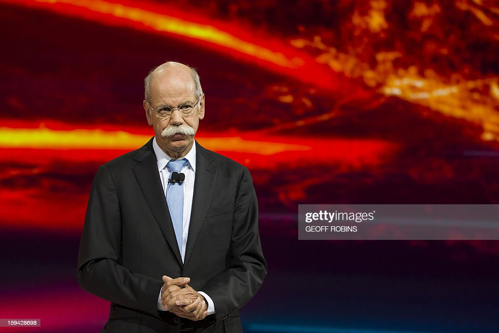 Mercedes Chairman of the Board Dr. Dieter Zetsche speaks at the launch of the company's CLA class car on the eve of the 2013 North American International Auto Show in Detroit, Michigan, January 13, 2013. AFP PHOTO / Geoff ROBINS