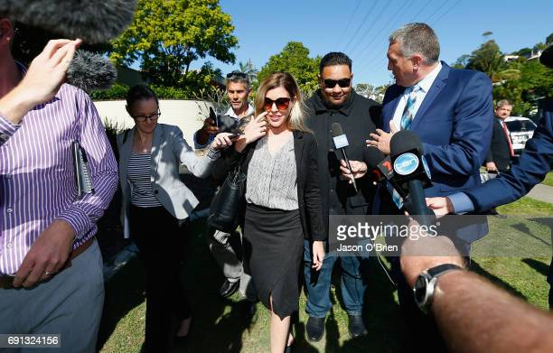 Mercedes Corby leaves Tweed Heads local Court on June 2 2017 in Gold Coast Australia Mercedes Corby is challenging an apprehended violence which was...