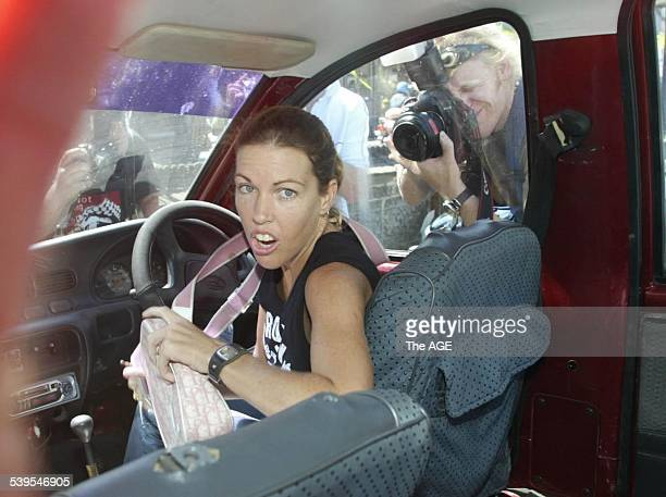 Mercedes Corby leaving the Kerobokan jail in Bali with Alyth McCoomb after visiting Schapelle with Ron Bakir and and Robyn Tampoe 25 May 2005 THE AGE...