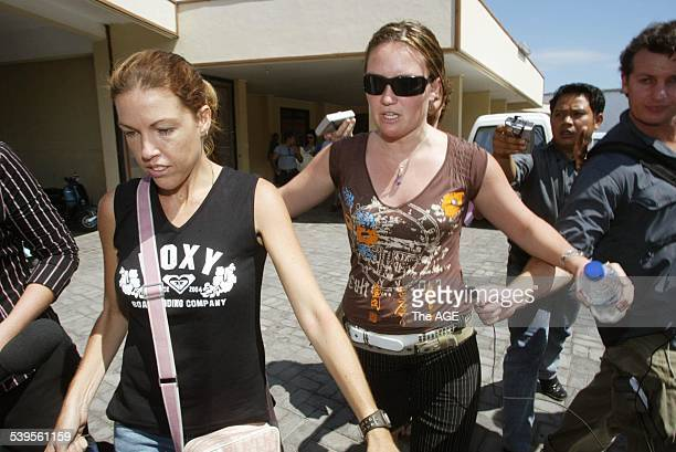 Mercedes Corby leaving the Kerobokan jail in Bali with Alyth McCoomb after visiting Schapelle with Ron Bakir and Robyn Tampoe 25 May 2005 THE AGE...
