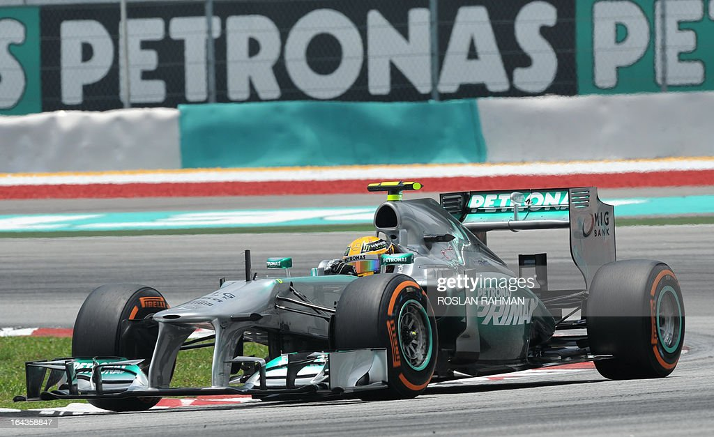 Mercedes driver Lewis Hamilton of Britain takes a corner during the third practice session of the Formula One Malaysian Grand Prix at Sepang on March 23, 2013.