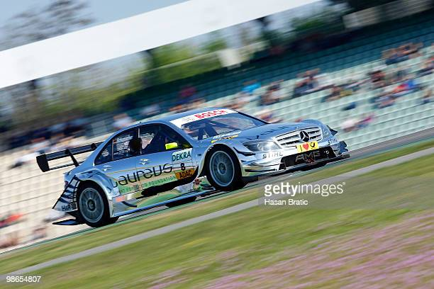 Mercedes driver Ralf Schumacher of Germany steers his car during the warm up of the DTM 2010 German Touring Car Championship on April 25 2010 in...