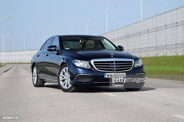 Mercedes E-Class stopped on the road