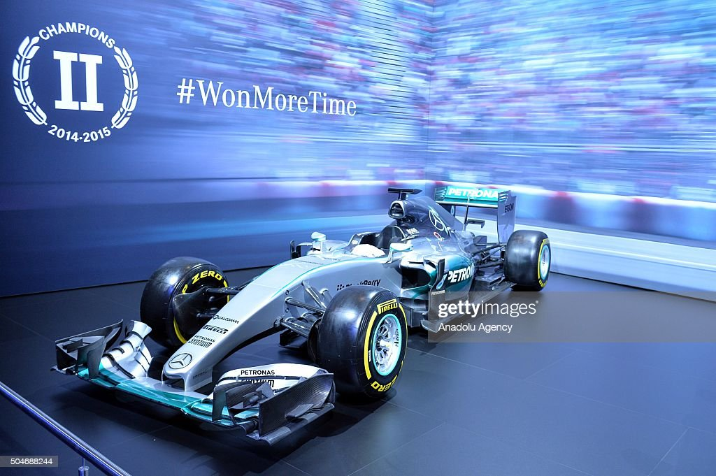 Mercedes F1 car on display during the Brussels Auto Show at Expo Center in Brussels Belgium on 12 2016