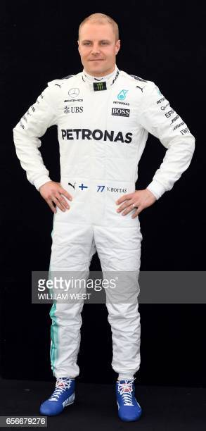 Mercedes' Finnish driver Valtteri Bottas poses for a photo in Melbourne on March 23 ahead of the Formula One Australian Grand Prix / AFP PHOTO /...
