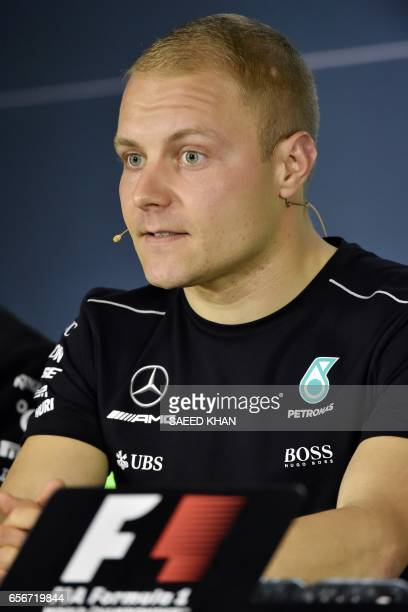 Mercedes' Finnish driver Valtteri Bottas speaks at a press conference in Melbourne on March 23 ahead of the Formula One Australian Grand Prix / AFP...