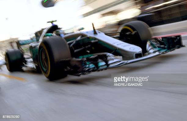 Mercedes' Finnish driver Valtteri Bottas steers his car during the third practice session ahead of the Abu Dhabi Formula One Grand Prix at the Yas...