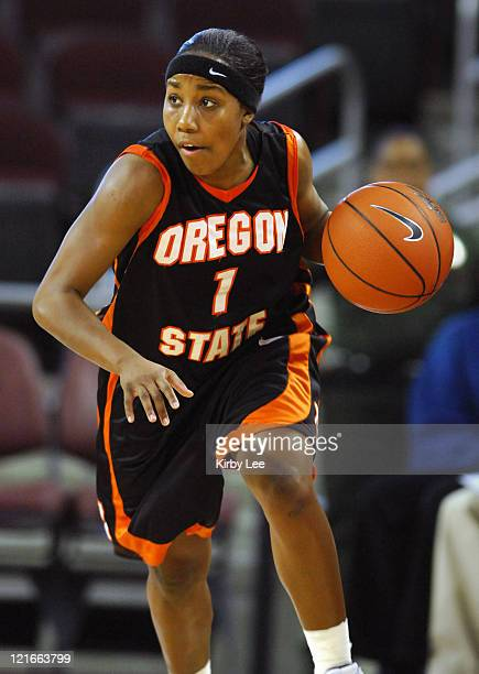 Mercedes FoxGriffin of Oregon State dribbles up court during 5951 loss to USC in Pacific10 Conference women's basketball game at the Galen Center in...