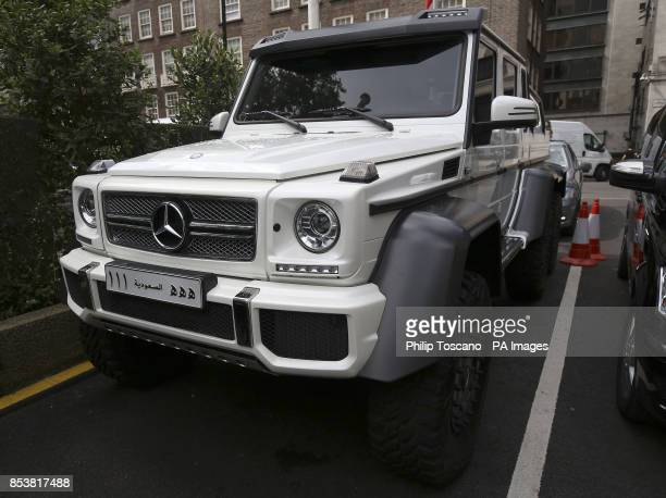 A Mercedes G63 AMG outside the Park Tower Hotel in Knightsbridge in London as August sees hundreds of superrich Middle Easterners flying in from...