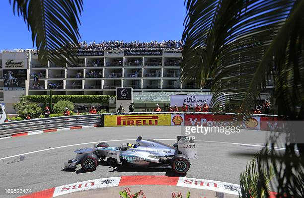 Mercedes' German driver Nico Rosberg drives during the Monaco Formula One Grand Prix at the Circuit de Monaco in Monte Carlo on May 26 2013 AFP PHOTO...