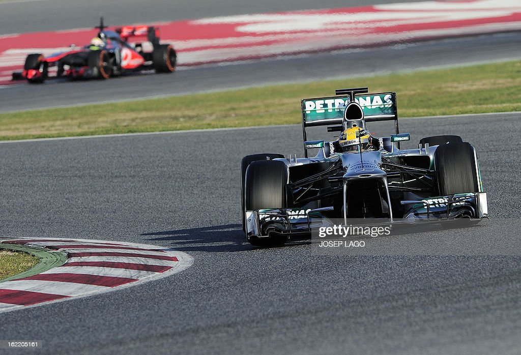 Mercedes' GP British driver Lewis Hamilton drives during the second day of Formula One testing at the Catalunya racetrack in Montmelo, near Barcelona, on February 20, 2013. AFP PHOTO / JOSEP LAGO