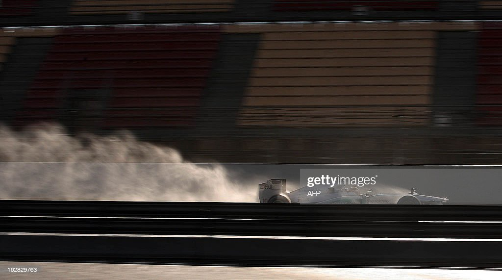 Mercedes' GP British Lewis Hamilton drives during the Formula One test days at Catalunya's racetrack in Montmelo, near Barcelona, on February 28, 2013.