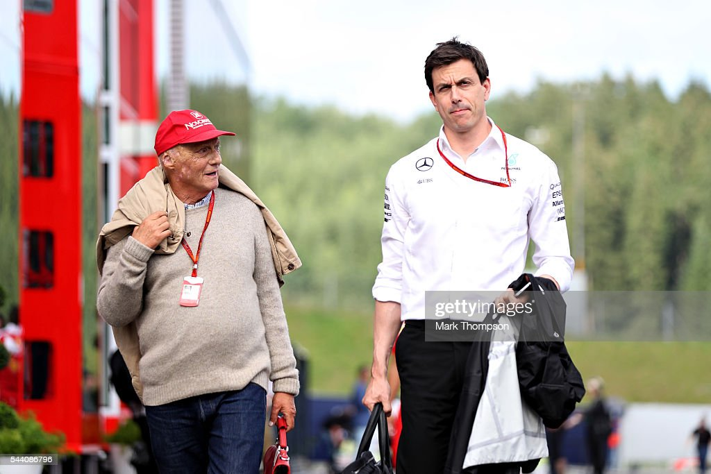 Mercedes GP Executive Director Toto Wolff and Mercedes GP non-executive chairman Niki Lauda in the Paddock during practice for the Formula One Grand Prix of Austria at Red Bull Ring on July 1, 2016 in Spielberg, Austria.