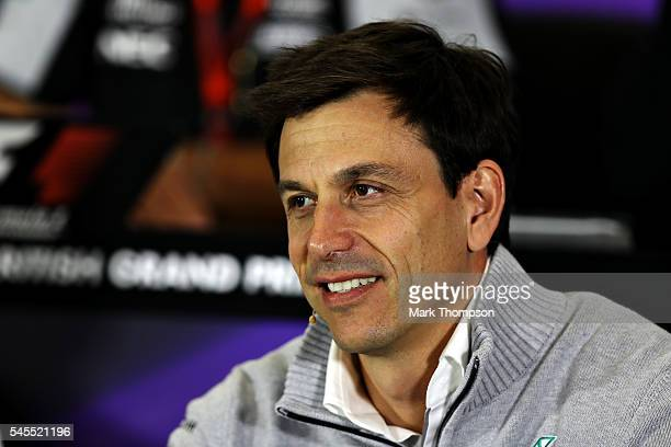 Mercedes GP Executive Director Toto Wolff in the Team Principals Press Conference during practice for the Formula One Grand Prix of Great Britain at...