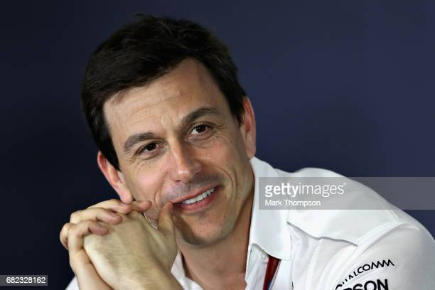 Mercedes GP Executive Director Toto Wolff in the Team Principals Press Conference during practice for the Spanish Formula One Grand Prix at Circuit...