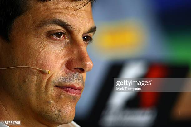 Mercedes GP Executive Director Toto Wolff looks on during a press conference after practice for the Formula One Grand Prix of Hungary at Hungaroring...