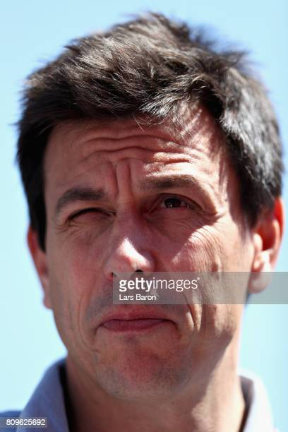 Mercedes GP Executive Director Toto Wolff looks on during previews ahead of the Formula One Grand Prix of Austria at Red Bull Ring on July 6 2017 in...
