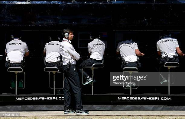 Mercedes GP Executive Director Toto Wolff looks on from the pit wall during practice for the Formula One Grand Prix of Great Britain at Silverstone...