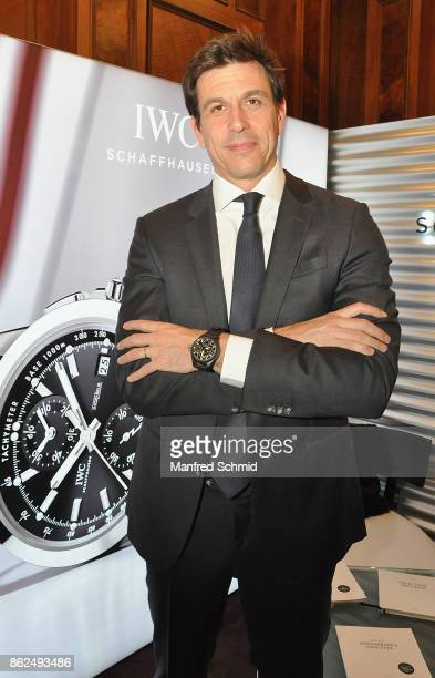 Mercedes GP Executive Director Toto Wolff poses during the IWC Schaffhausen launch of it's new collection 2017 at IWC Boutique Vienna on October 17...