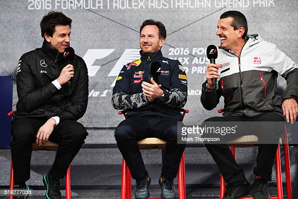 Mercedes GP Executive Director Toto Wolff Red Bull Racing Team Principal Christian Horner and Haas F1 Team Principal Guenther Steiner talk on stage...
