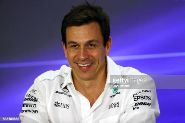 Mercedes GP Executive Director Toto Wolff talks in the Team Principals Press Conference after practice for the Abu Dhabi Formula One Grand Prix at...