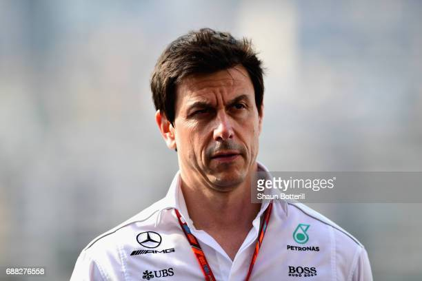 Mercedes GP Executive Director Toto Wolff walks in the Paddock during practice for the Monaco Formula One Grand Prix at Circuit de Monaco on May 25...