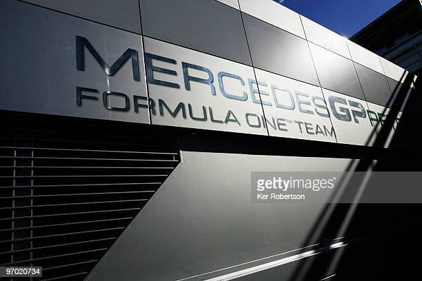 Mercedes GP F1 team logo is seen on transporter during Formula One winter testing at the Circuit De Catalunya on February 24 2010 in Barcelona Spain