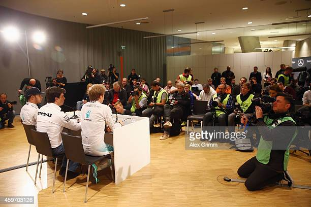 Mercedes GP Formula One drivers Nico Rosberg of Germany and Lewis Hamilton of Great Britain attend a press conference with Toto Wolff the Mercedes GP...