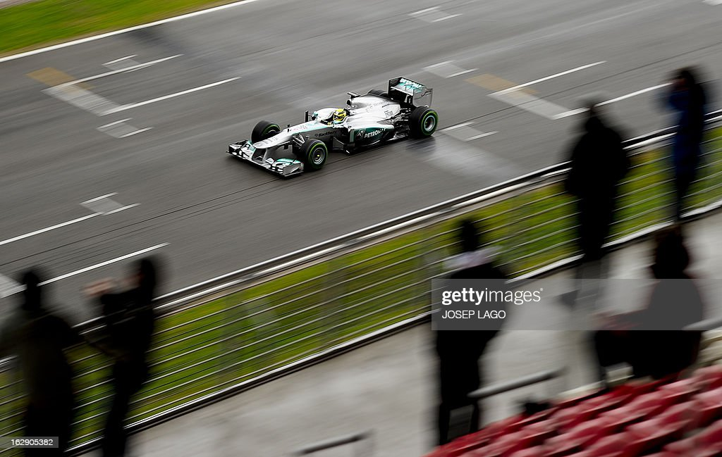 Mercedes' GP German driver Nico Rosberg drives during the Formula One test days at Catalunya's racetrack in Montmelo, near Barcelona, on March 1, 2013. . AFP PHOTO/JOSEP LAGO