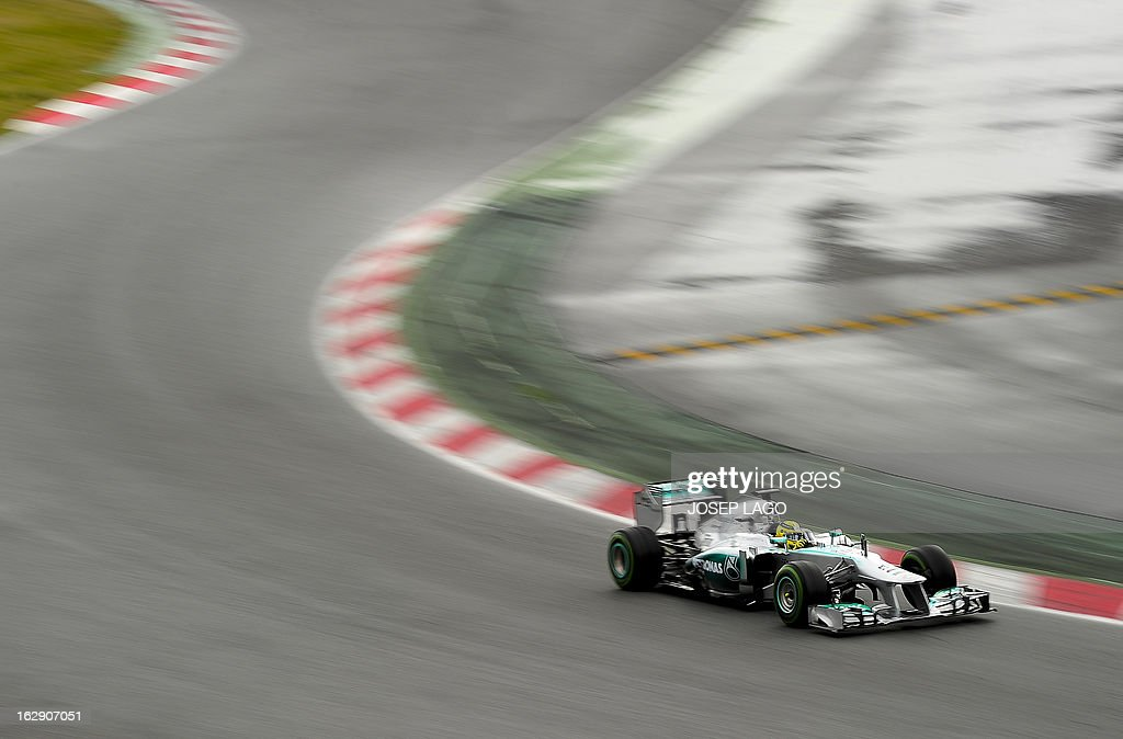 Mercedes' GP German driver Nico Rosberg drives during the Formula One test days at Catalunya's racetrack in Montmelo, near Barcelona, on March 1, 2013. AFP PHOTO/JOSEP LAGO