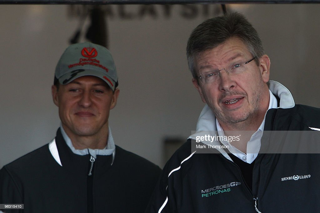 Mercedes GP Team Principal Ross Brawn and Michael Schumacher of Germany and Mercedes GP attend the roll out of the new Mercedes W01 at the Ricardo...