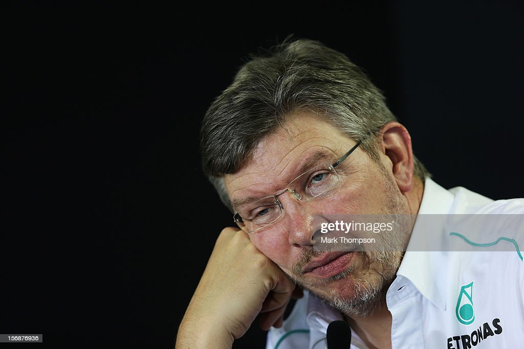 Mercedes GP Team Principal Ross Brawn attends the official press conference following practice for the Brazilian Formula One Grand Prix at the Autodromo Jose Carlos Pace on November 23, 2012 in Sao Paulo, Brazil.