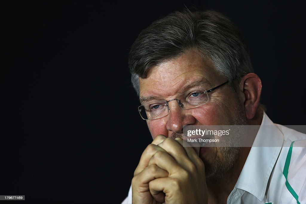 Mercedes GP Team Principal Ross Brawn attends the official press conference following practice for the Italian Formula One Grand Prix at Autodromo di...