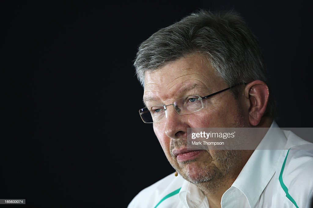 Mercedes GP Team Principal Ross Brawn attends the official press conference following practice for the Indian Formula One Grand Prix at Buddh...