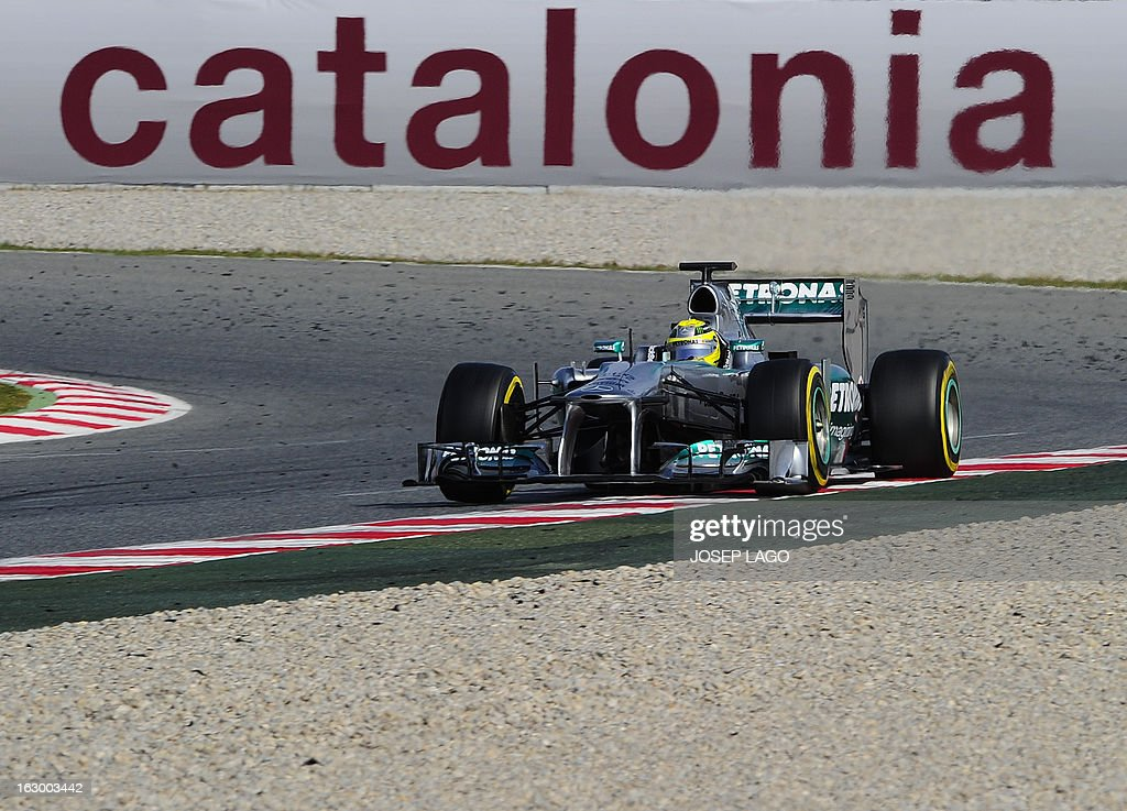 Mercedes GP's German driver Nico Rosberg drives during the Formula One test days at Catalunya's racetrack in Montmelo, near Barcelona, on March 3, 2013. .