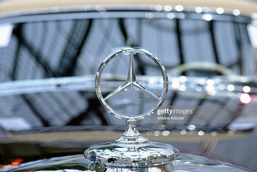 Mercedes logo is seen on a vintage car during an exhibition by Bonhams auction house at Le Grand Palais on February 5 2014 in Paris France