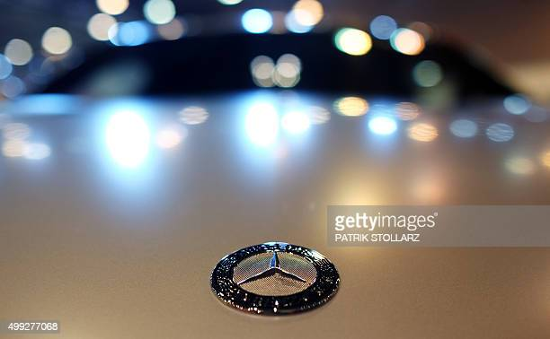 A Mercedes logo on an AMG tuned Mercedes car is on display at the Essen Motor Show on November 30 2015 at the fair grounds in Essen western Germany...