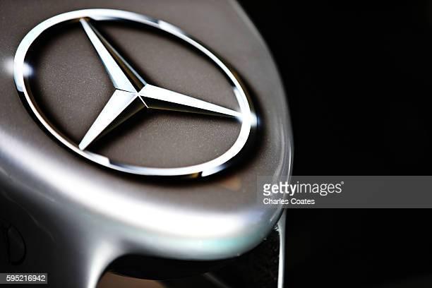 Mercedes logo on the nose of a Mercedes AMG Petronas F1 Team Mercedes F1 WO7 Mercedes PU106C Hybrid turbo during previews ahead of the Formula One...