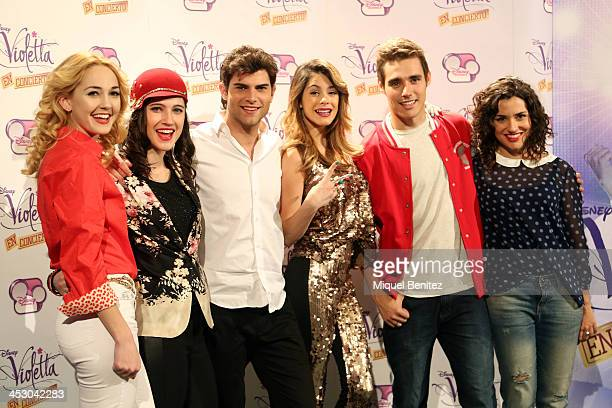 Mercedes Lumbre Alba Rico Diego Dominguez Argentine singer Violetta Jorge Blanco and Martina Stoessel attend a photocall for the Spanish tour of...