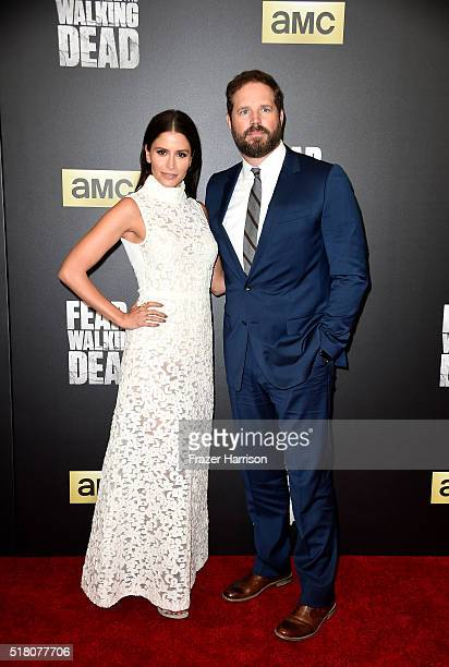Mercedes Masohn and David Denman attend the premiere of AMC's 'Fear The Walking Dead' Season 2 at Cinemark Playa Vista on March 29 2016 in Los...