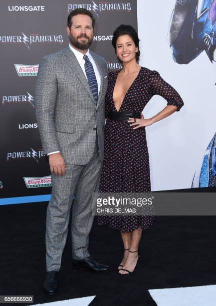 Mercedes Mason and David Denman attend the red carpet arrivals for the world premiere of Power Rangers at the Village theatre in Hollywood California...