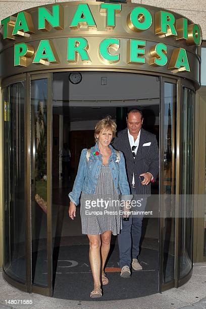 Mercedes Mila and Nacho Montes attend Pedro Rodriguez's funeral the general manager of Quarzo Company at Tanatorio La Paz on July 7 2012 in Madrid...