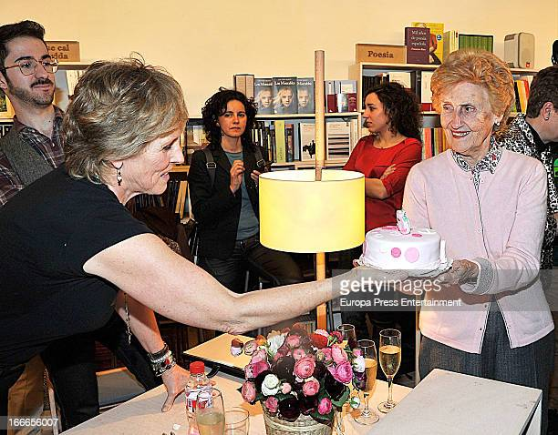 Mercedes Mila celebrates her 62th birthday with her mother Mercedes Mencos during the presentation of her book 'Lo que me sale del bolo' on April 5...