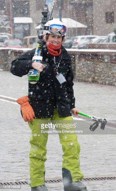 Mercedes Mila is seen skiing on March 19 2012 in Baqueira Beret Spain