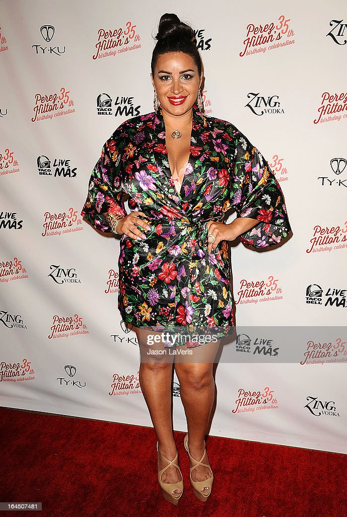 Mercedes 'MJ' Javid attends Perez Hilton's 35th birthday party at El Rey Theatre on March 23, 2013 in Los Angeles, California.