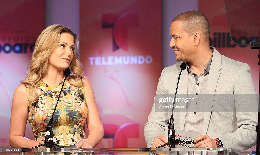 Mercedes Molto and Victor Manuelle attend Telemundo and Premios Billboard 2013 Press Conference at Gibson Miami Showroom on February 5, 2013 in Miami, Florida.